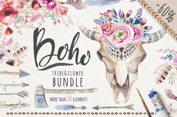 Tribe flower bundle illustrations. Boho clipart boho style