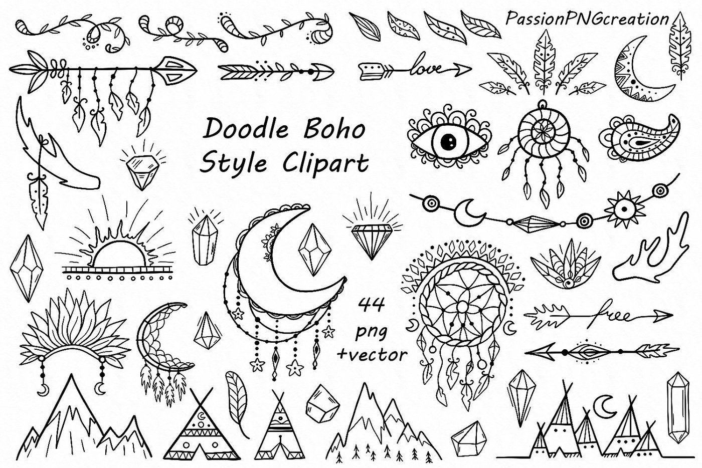 Boho clipart boho style. Doodle by passionpngcreation