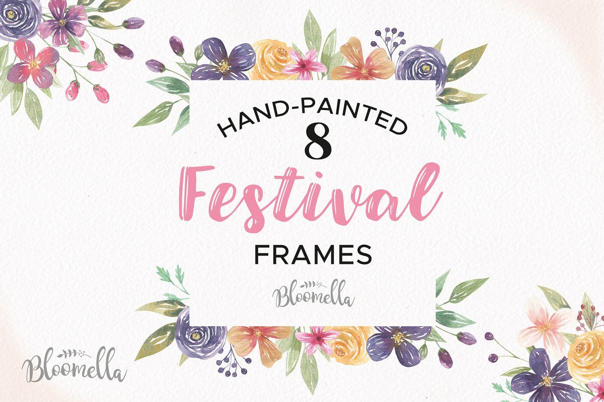 Festival watercolor frames border. Boho clipart borders