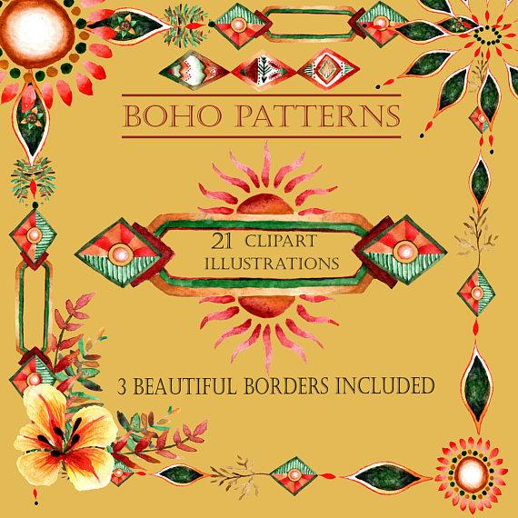 Pattern border indian bohemian. Boho clipart borders
