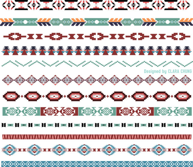 Boho clipart borders. Pixel geometric style pattern