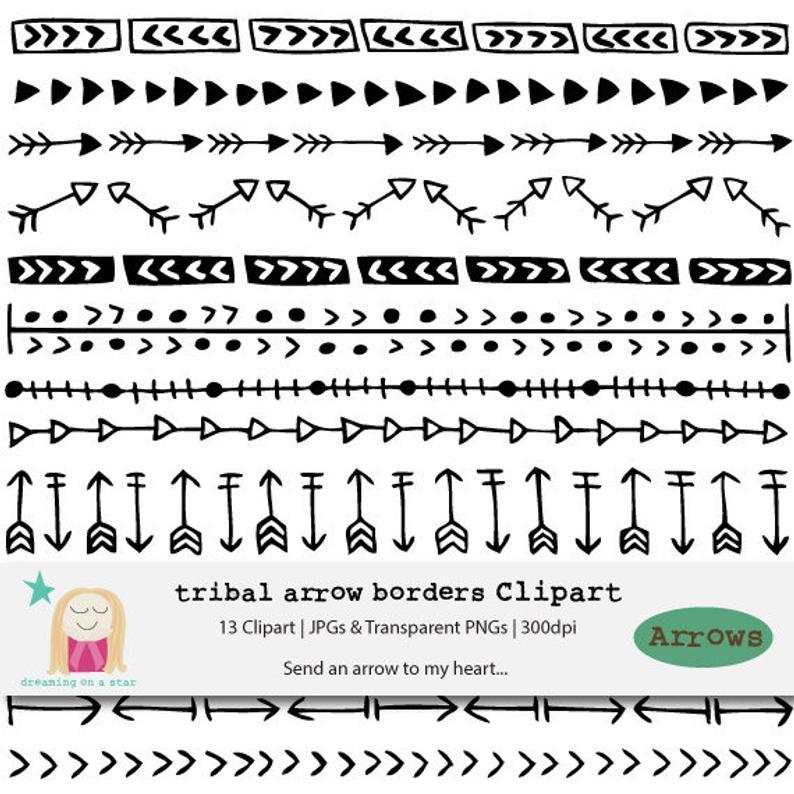 Boho clipart borders. Arrow border tribal arrows