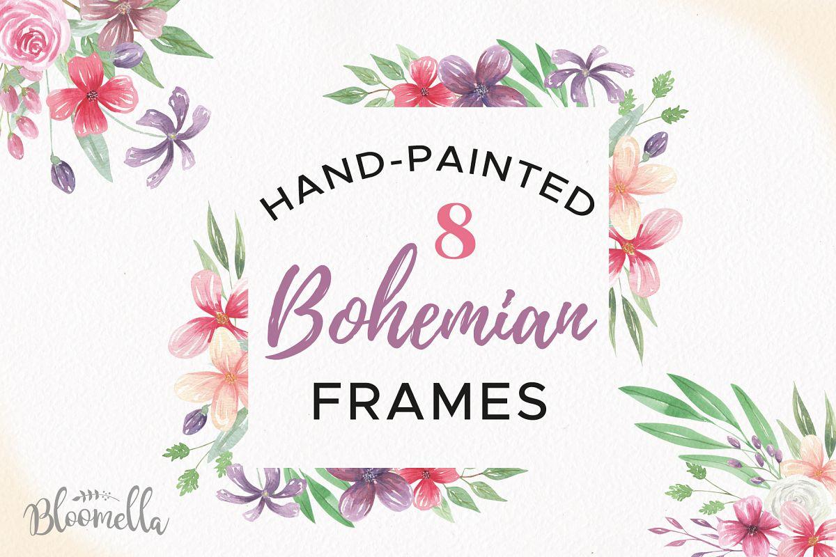 Bohemian watercolor frames border. Boho clipart borders