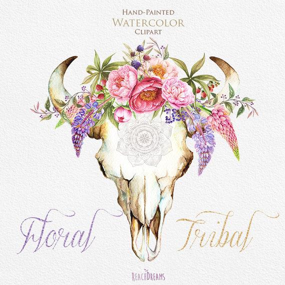 Watercolor floral tribal wild. Boho clipart bull skull