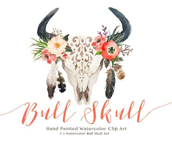 Watercolor set wedding clip. Boho clipart bull skull
