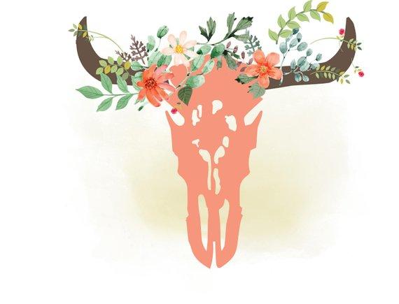 Cow svg floral . Boho clipart bull skull