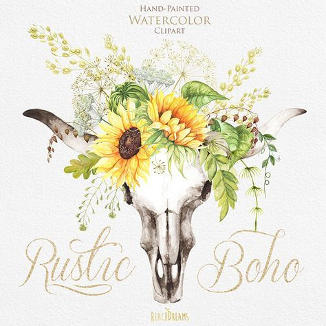 Boho clipart bull skull. Watercolor with sunflower bouquet