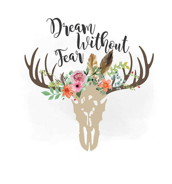 Boho clipart bull skull. Dream without fear svg
