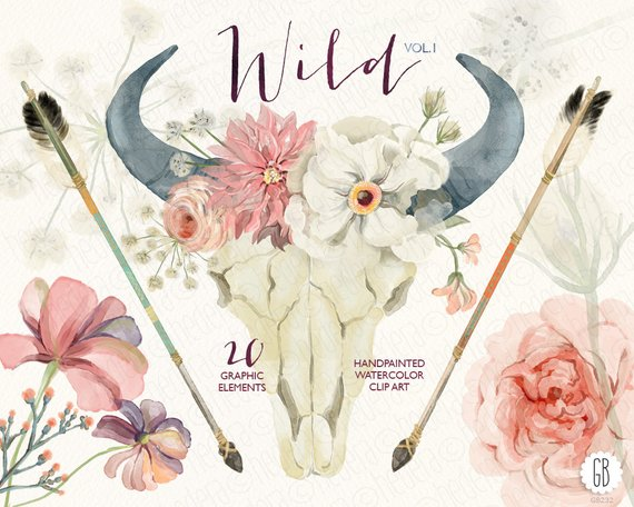 Boho clipart bull skull. Watercolor floral horn peony