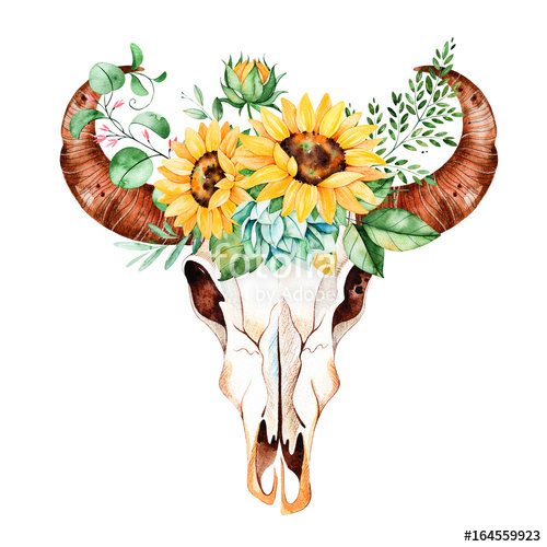 Boho clipart bull skull. Watercolor head with sunflowers