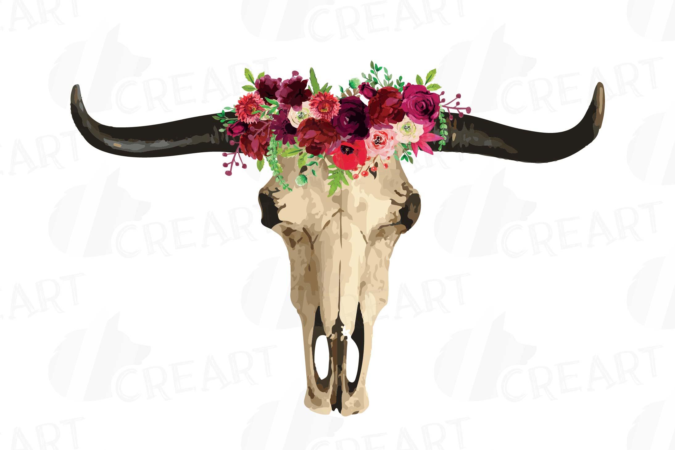 Watercolor floral longhorn tribal. Boho clipart bull skull