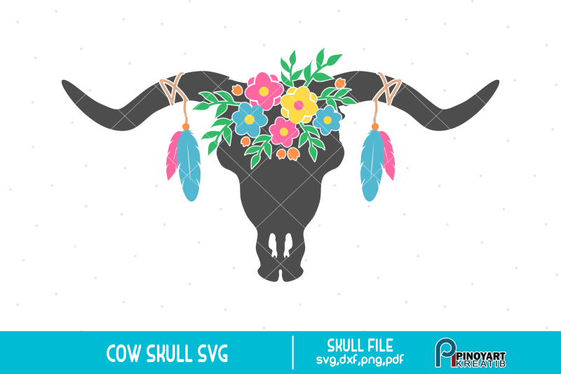 Boho clipart bull skull. Cow svg flower clip