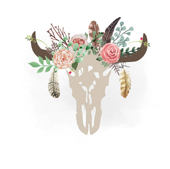 Boho clipart bull skull. Gypsy cow svg floral