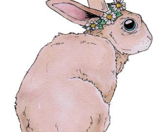Etsy print. Boho clipart bunny