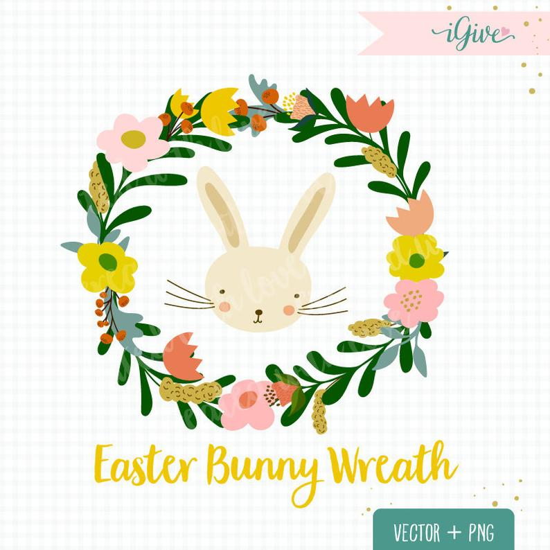 Easter wreath clip art. Boho clipart bunny
