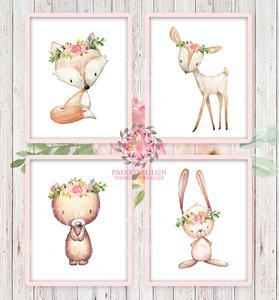 deer fox rabbit. Boho clipart bunny