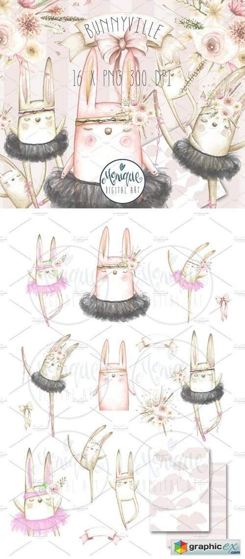 Watercolor stock images web. Boho clipart bunny