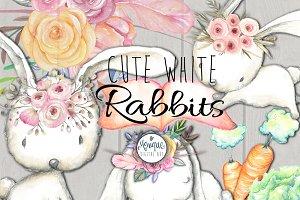 Watercolor illustrations creative market. Boho clipart bunny