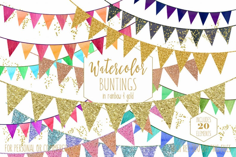 Boho clipart bunting. Gold banner commercial use