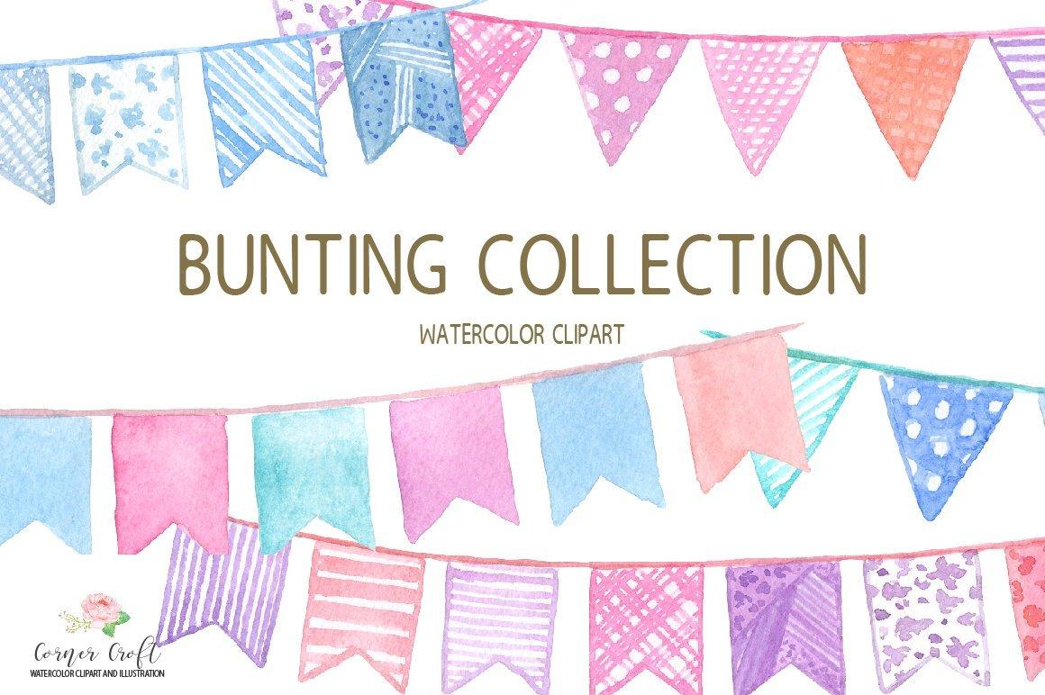 Watercolor for digital download. Boho clipart bunting