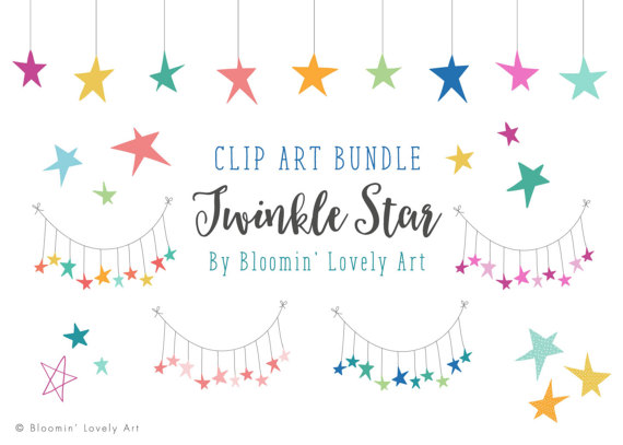 Stars clip art star. Boho clipart bunting