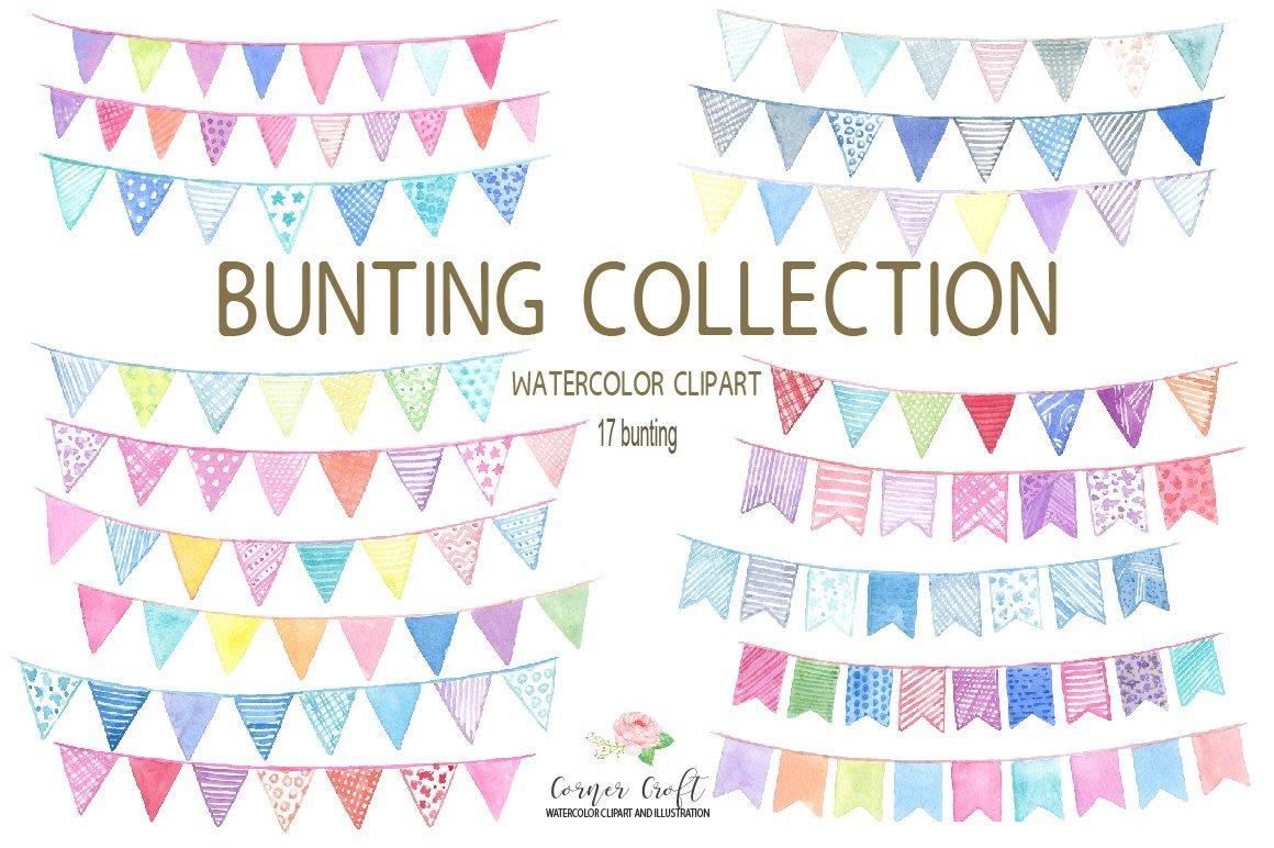 Boho clipart bunting. Watercolor for digital download