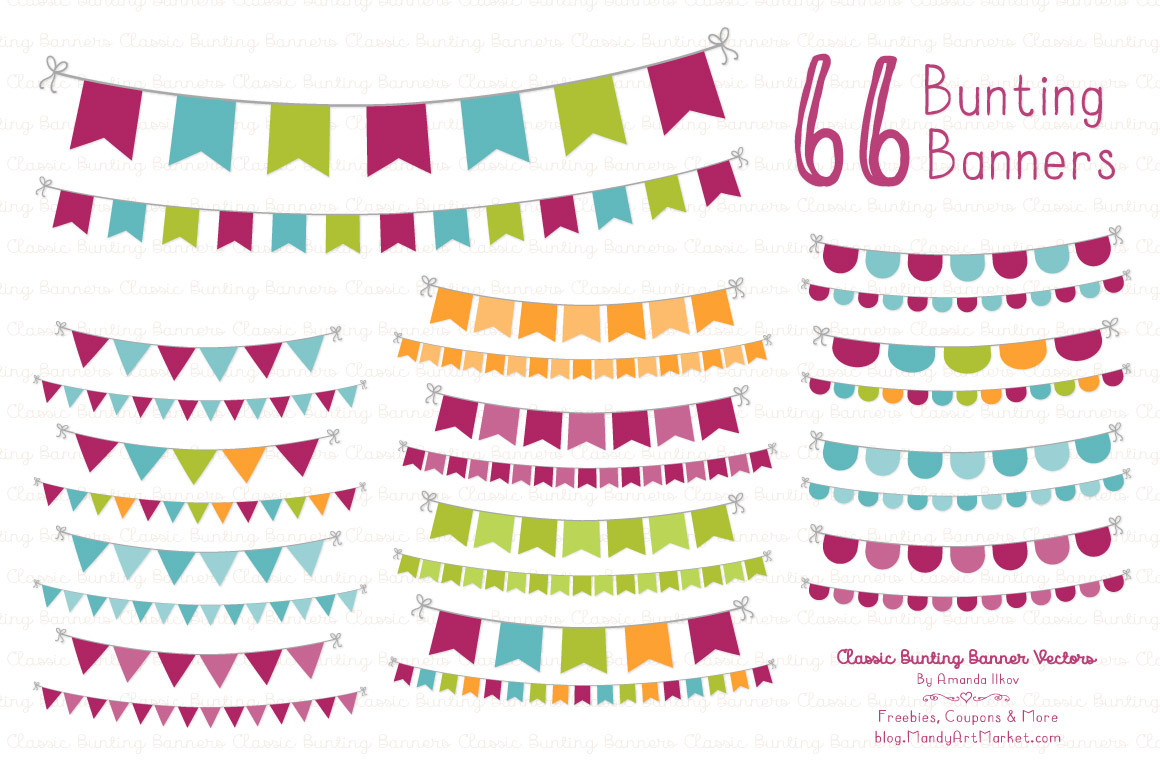 Classic banner in bohemian. Boho clipart bunting