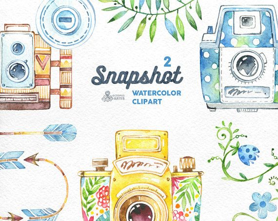 best watercolor cameras. Camera clipart boho