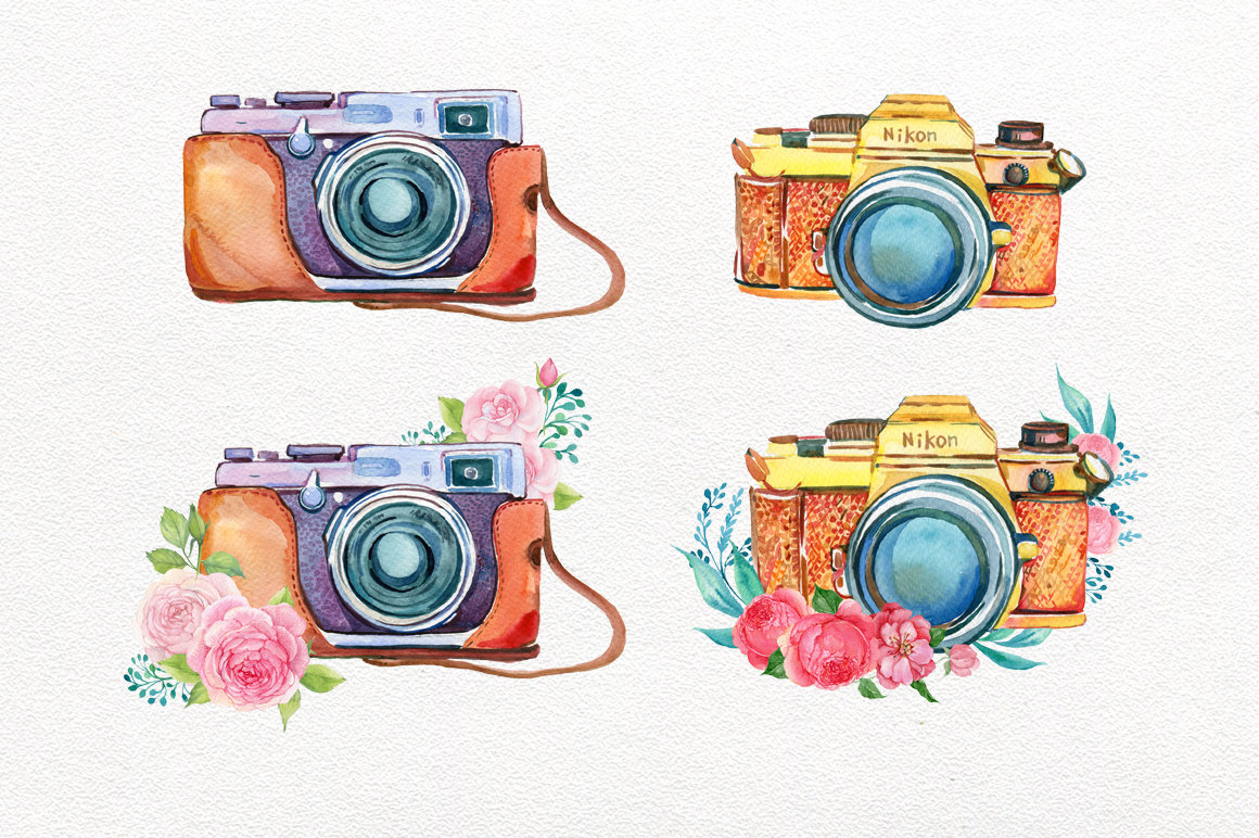 Watercolor girl photographer fashion. Camera clipart boho