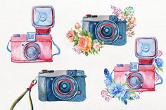 Camera clipart boho. Flowers cameras handpainted invitation