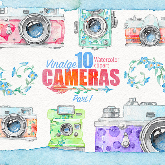 Camera clipart boho. Watercolor vintage retro
