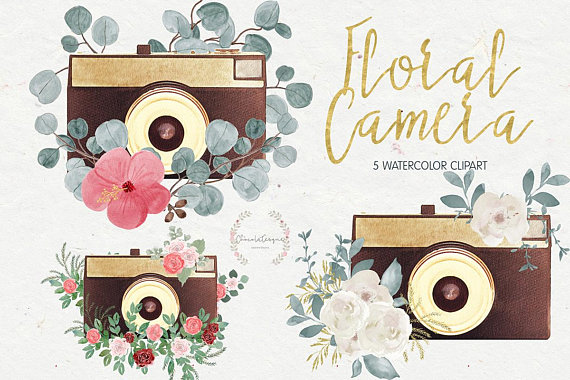 Floral watercolor clipartwatercolor cameracamera. Camera clipart boho