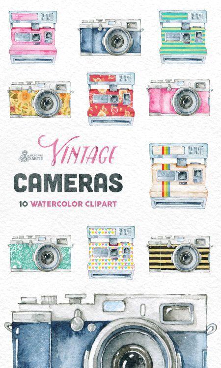Vintage cameras handpainted wedding. Boho clipart camera