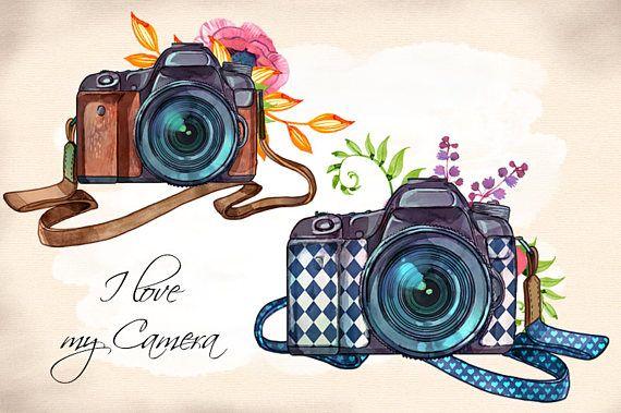 Watercolor hand painted illustrations. Boho clipart camera