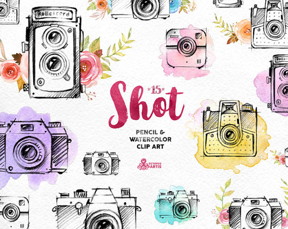 Shot handpainted pencil watercolor. Boho clipart camera