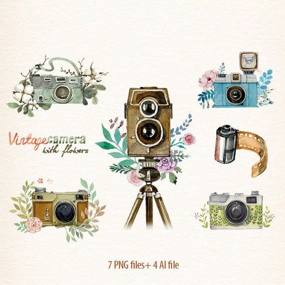 Camera clipart boho. Watercolor retro flowers cameras