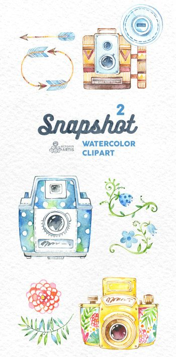 Snapshot watercolor handpainted cameras. Camera clipart boho