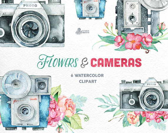 Flowers cameras handpainted invitation. Camera clipart boho
