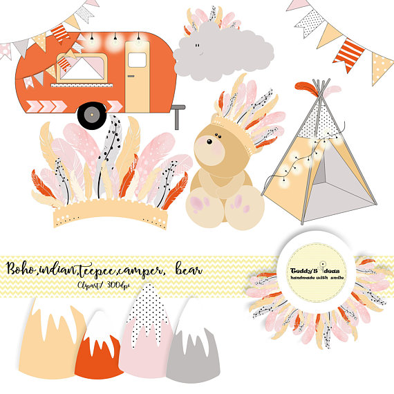 Indian teepee bear bunting. Boho clipart camper