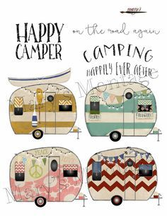 Boho clipart camper. Retro png digital collage
