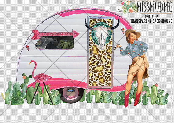 Boho clipart camper. Png retro happy cowgirl