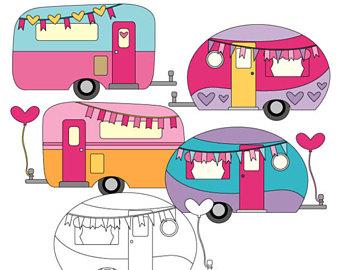 Caravan clip art etsy. Camper clipart boho