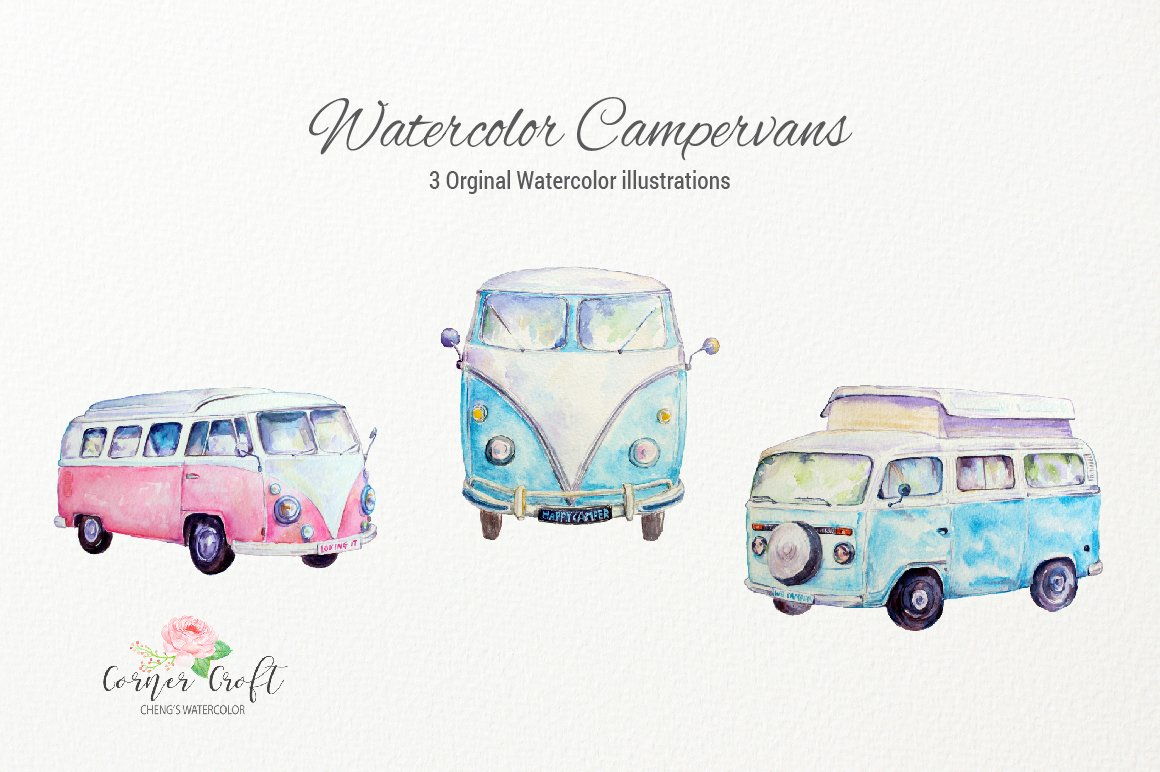 Camper clipart boho. Watercolor vintage campervans leisure