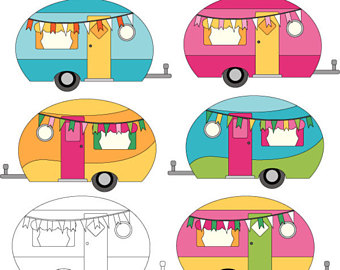 Camper clipart boho. Camping etsy