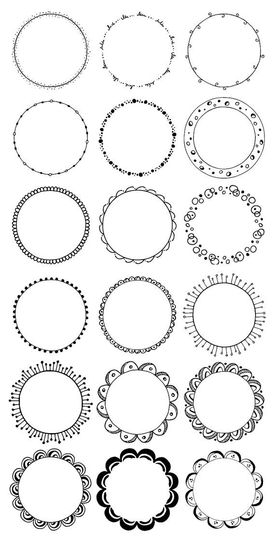 Boho clipart circle.  hand drawn decorative