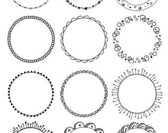 Boho clipart circle. Round digital frames frame