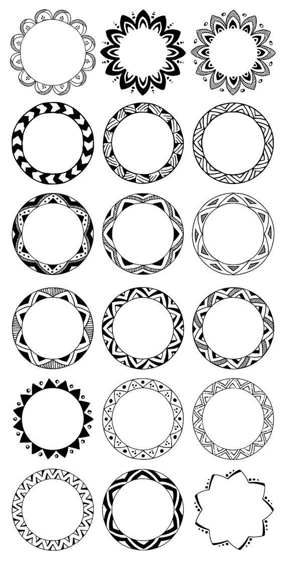 hand drawn decorative. Boho clipart circle