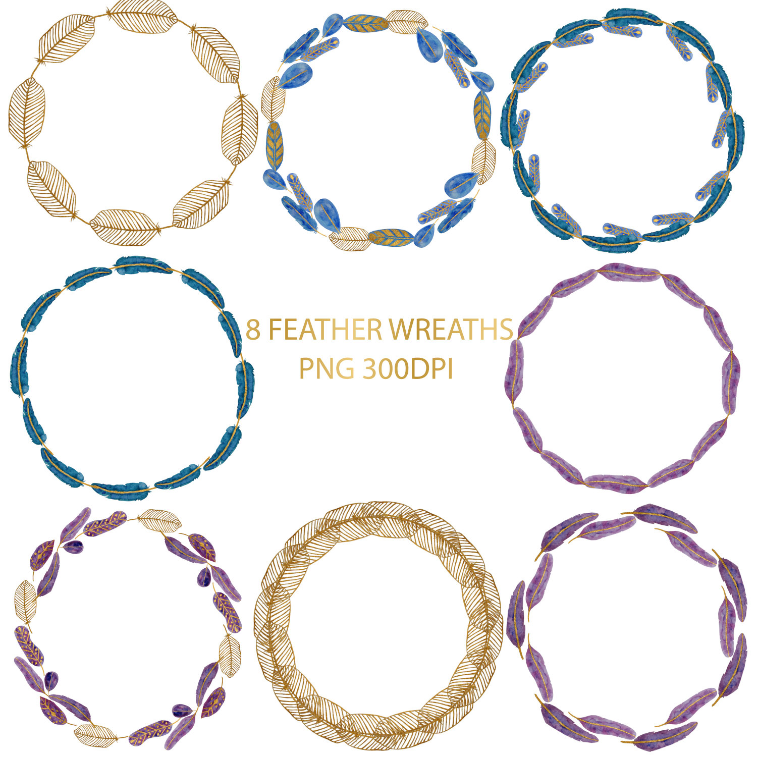 Boho clipart circle. Feathers watercolor wreaths this