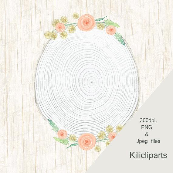 Wedding wood wreaths watercolor. Boho clipart circle