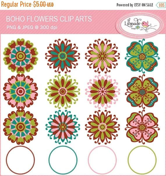 Boho clipart circle.  off flowers clip